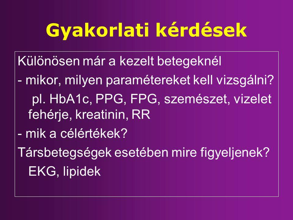 Gyakorlati kérdések Különösen már a kezelt betegeknél - mikor, milyen paramétereket kell vizsgálni? pl. HbA1c, PPG, FPG, szemészet, vizelet fehérje, k