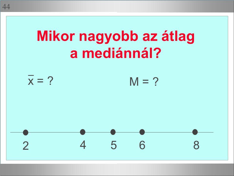 44 Mikor nagyobb az átlag a mediánnál? 2 4 65 8 x = ? M = ?