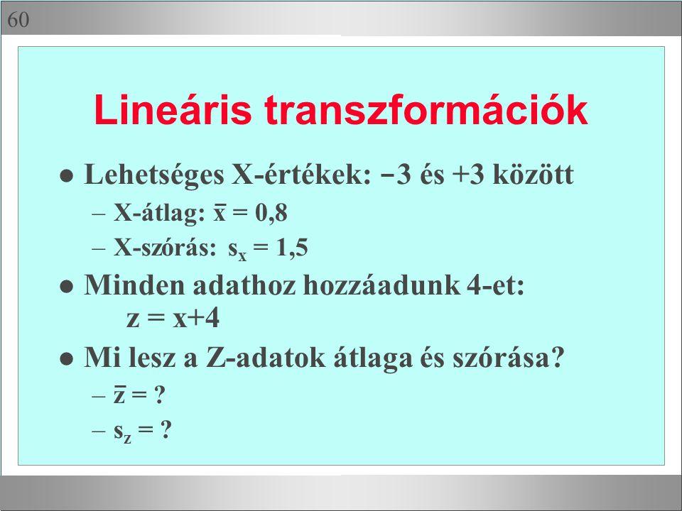 60 Lineáris transzformációk Lehetséges X-értékek: - 3 és +3 között –X-átlag: x = 0,8 –X-szórás: s x = 1,5 l Minden adathoz hozzáadunk 4-et: z = x+4 l Mi lesz a Z-adatok átlaga és szórása.