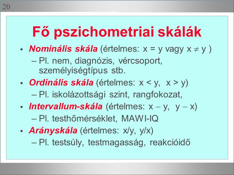 20 Fő pszichometriai skálák  Nominális skála (értelmes: x = y vagy x  y ) –Pl.