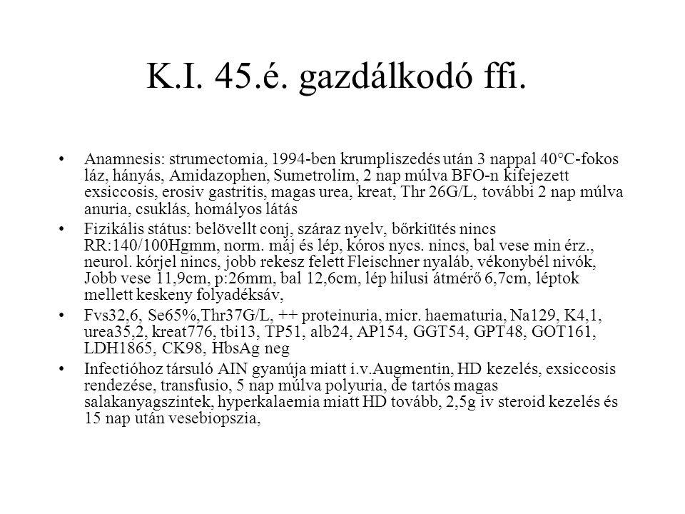 K.I. 45.é. gazdálkodó ffi. Anamnesis: strumectomia, 1994-ben krumpliszedés után 3 nappal 40°C-fokos láz, hányás, Amidazophen, Sumetrolim, 2 nap múlva