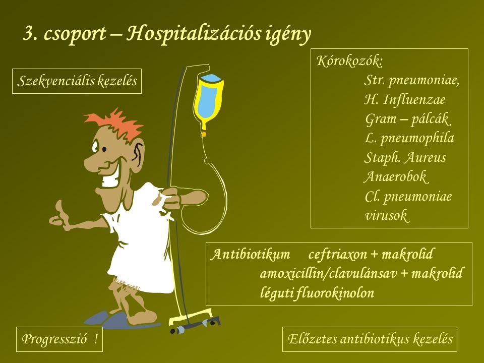 3. csoport – Hospitalizációs igény Kórokozók: Str. pneumoniae, H. Influenzae Gram – pálcák L. pneumophila Staph. Aureus Anaerobok Cl. pneumoniae virus