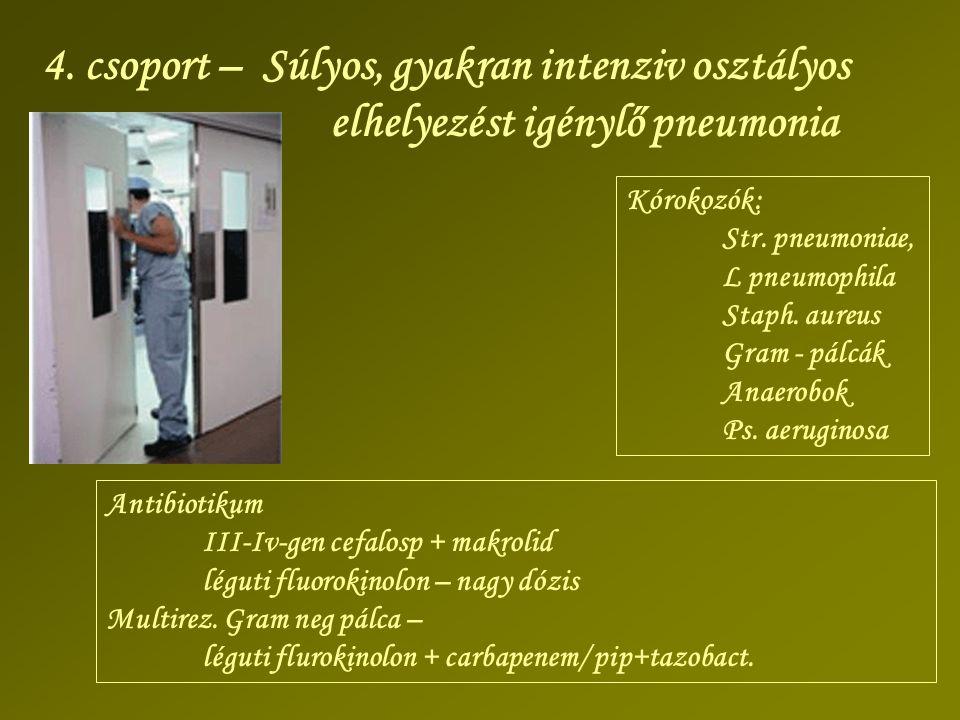 4. csoport – Súlyos, gyakran intenziv osztályos elhelyezést igénylő pneumonia Kórokozók: Str. pneumoniae, L pneumophila Staph. aureus Gram - pálcák An