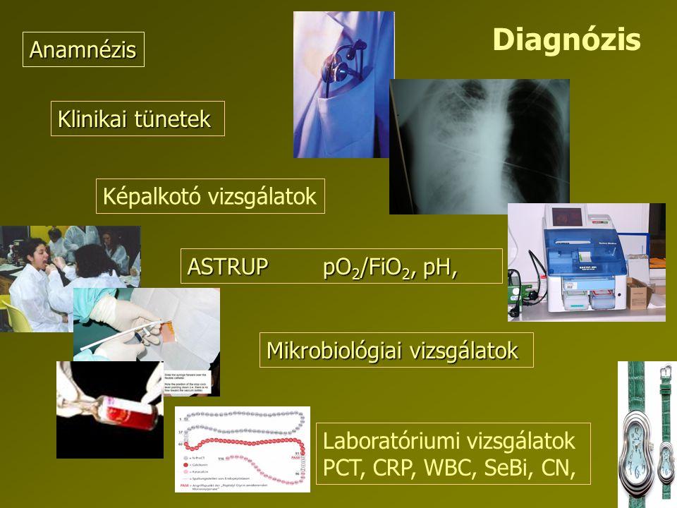 Klinikai tünetek Anamnézis ASTRUPpO 2 /FiO 2, pH, Laboratóriumi vizsgálatok PCT, CRP, WBC, SeBi, CN, Képalkotó vizsgálatok Mikrobiológiai vizsgálatok