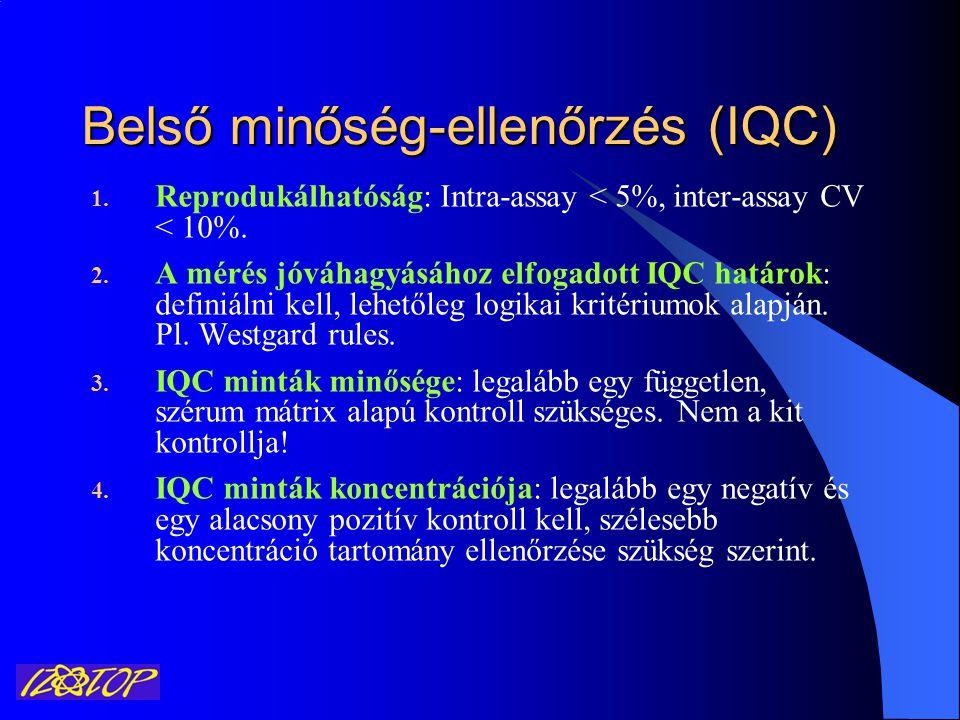 Belső minőség-ellenőrzés (IQC) 1. Reprodukálhatóság: Intra-assay < 5%, inter-assay CV < 10%. 2. A mérés jóváhagyásához elfogadott IQC határok: definiá