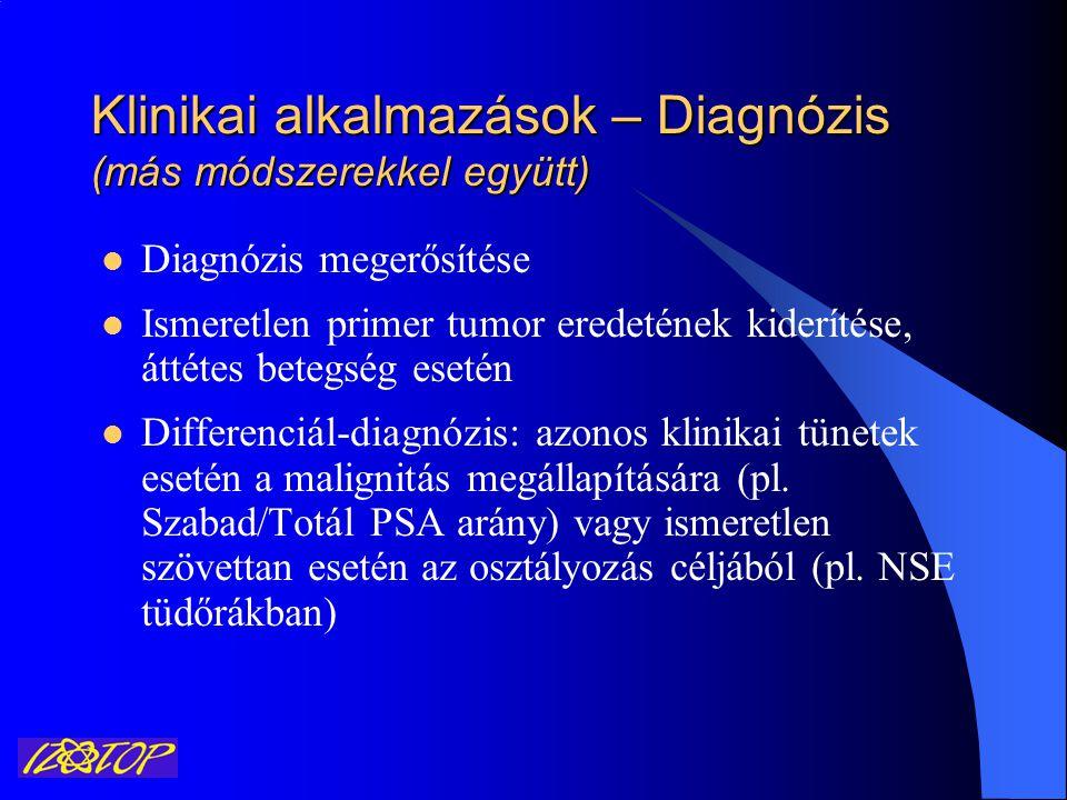 Klinikai alkalmazások – Prognózis Általában: Magas tumor marker szint – rossz prognózis Példák: AFP, HCG és LDH a hererákban CA72.4 a gyomorrákban (4x nagyobb halálozási rizikót jelent) NSE a SCLC esetén (minden 5 μg/L emelkedés a túlélési medián 10%-kos csökkenését jelenti)