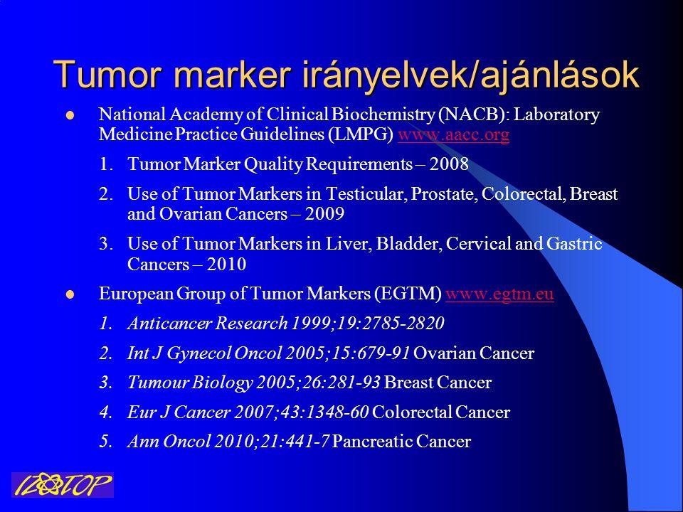 Ajánlott tumor markerek EmlőrákCA 15-3, CEA, ER, PR, HER-2 Prosztata rákPSA, szabad PSA Kissejtes tüdő rákNSE Nem kissejtes tüdő rákCEA, SCC, CYFRA 21-1, CA125, TPA Kolorektális rákCEA Hasnyálmirigy rákCA 19.9 Gyomor rákCA 72.4 Máj rákAFP HererákAFP, HCG, LDH Petefészek rákCA 125 Méhnyak rákSCC Pajzsmirigy rákokhTg, Kalcitonin