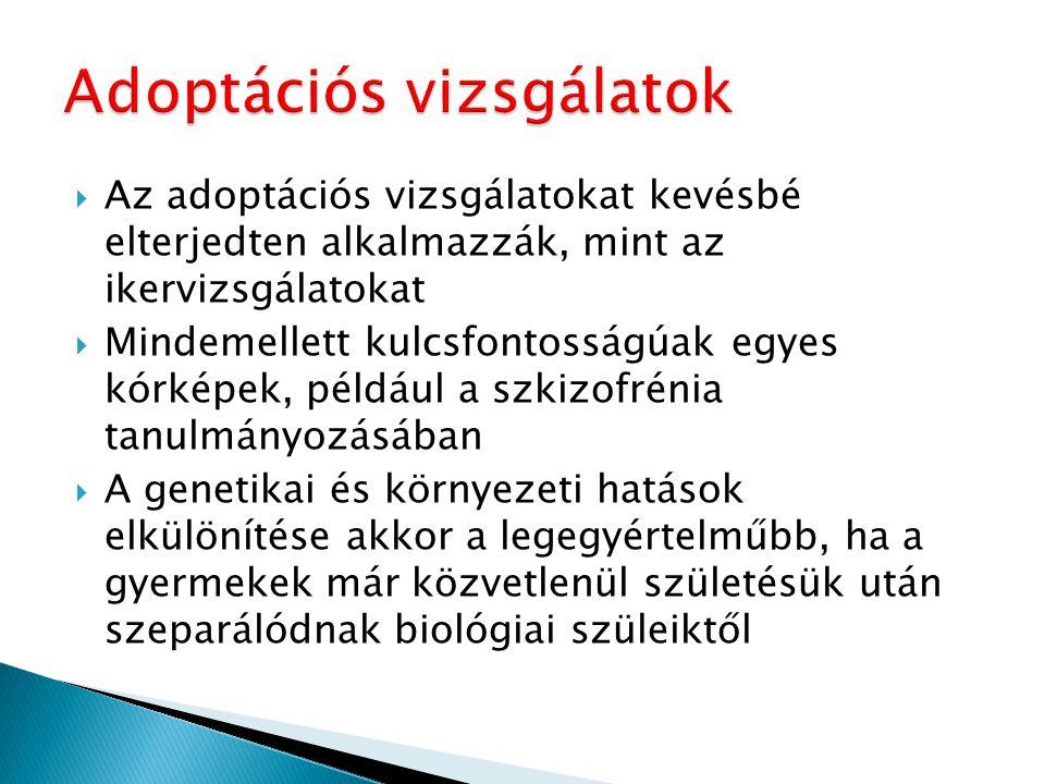  Az adoptációs vizsgálatokat kevésbé elterjedten alkalmazzák, mint az ikervizsgálatokat  Mindemellett kulcsfontosságúak egyes kórképek, például a sz