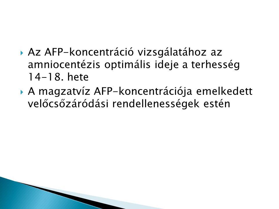  Az AFP-koncentráció vizsgálatához az amniocentézis optimális ideje a terhesség 14-18. hete  A magzatvíz AFP-koncentrációja emelkedett velőcsőzáródá