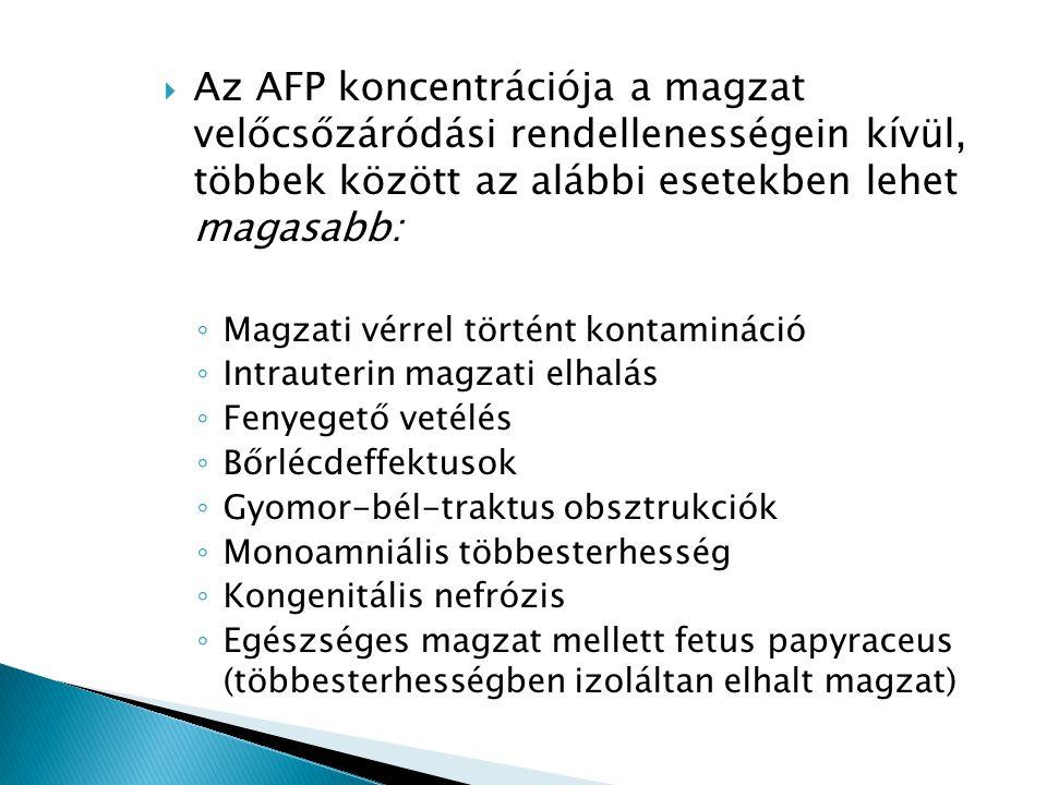  Az AFP koncentrációja a magzat velőcsőzáródási rendellenességein kívül, többek között az alábbi esetekben lehet magasabb: ◦ Magzati vérrel történt k