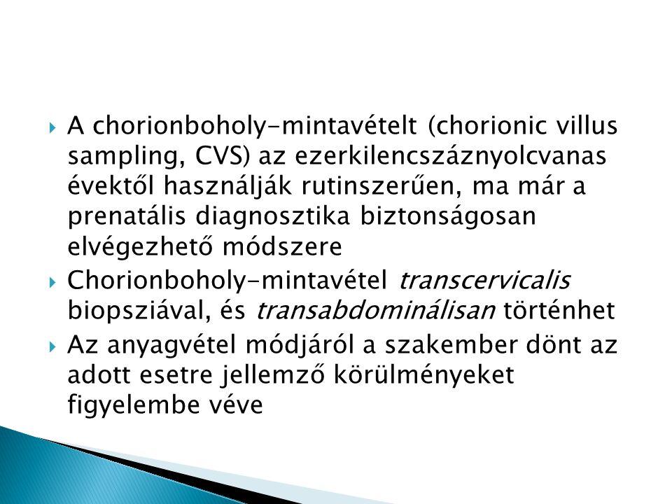  A chorionboholy-mintavételt (chorionic villus sampling, CVS) az ezerkilencszáznyolcvanas évektől használják rutinszerűen, ma már a prenatális diagno
