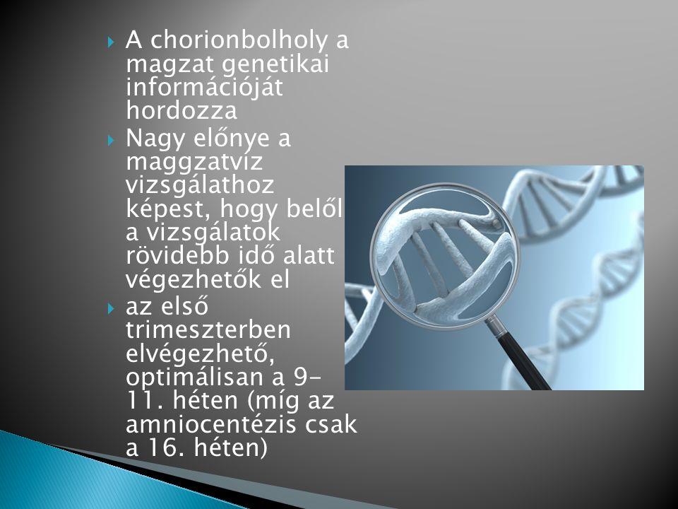  A chorionbolholy a magzat genetikai információját hordozza  Nagy előnye a maggzatvíz vizsgálathoz képest, hogy belőle a vizsgálatok rövidebb idő al