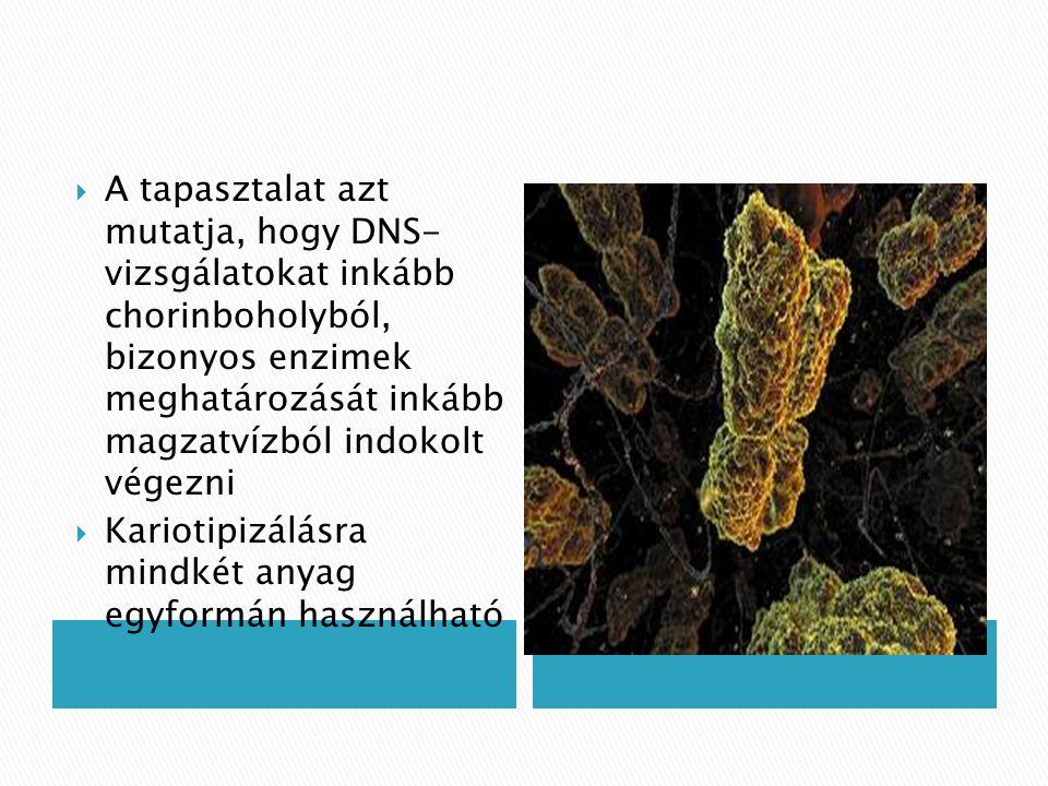  A tapasztalat azt mutatja, hogy DNS- vizsgálatokat inkább chorinboholyból, bizonyos enzimek meghatározását inkább magzatvízból indokolt végezni  Ka