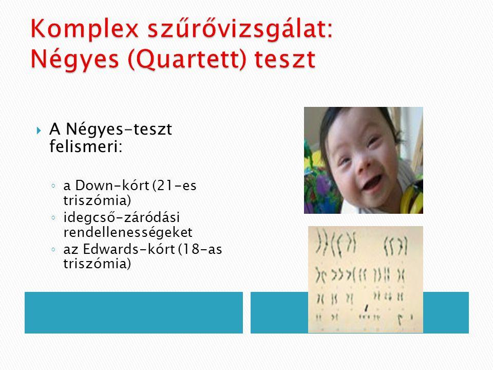  A Négyes-teszt felismeri: ◦ a Down-kórt (21-es triszómia) ◦ idegcső-záródási rendellenességeket ◦ az Edwards-kórt (18-as triszómia)