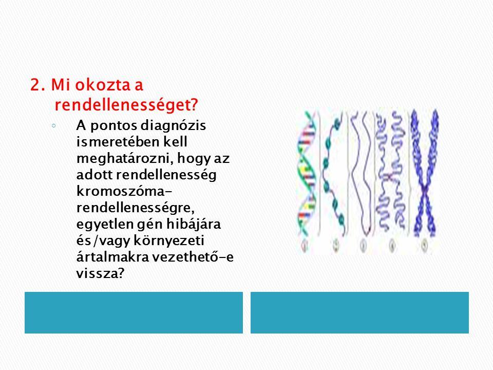 2. Mi okozta a rendellenességet? ◦ A pontos diagnózis ismeretében kell meghatározni, hogy az adott rendellenesség kromoszóma- rendellenességre, egyetl