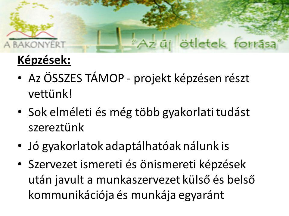 Képzések: Az ÖSSZES TÁMOP - projekt képzésen részt vettünk.