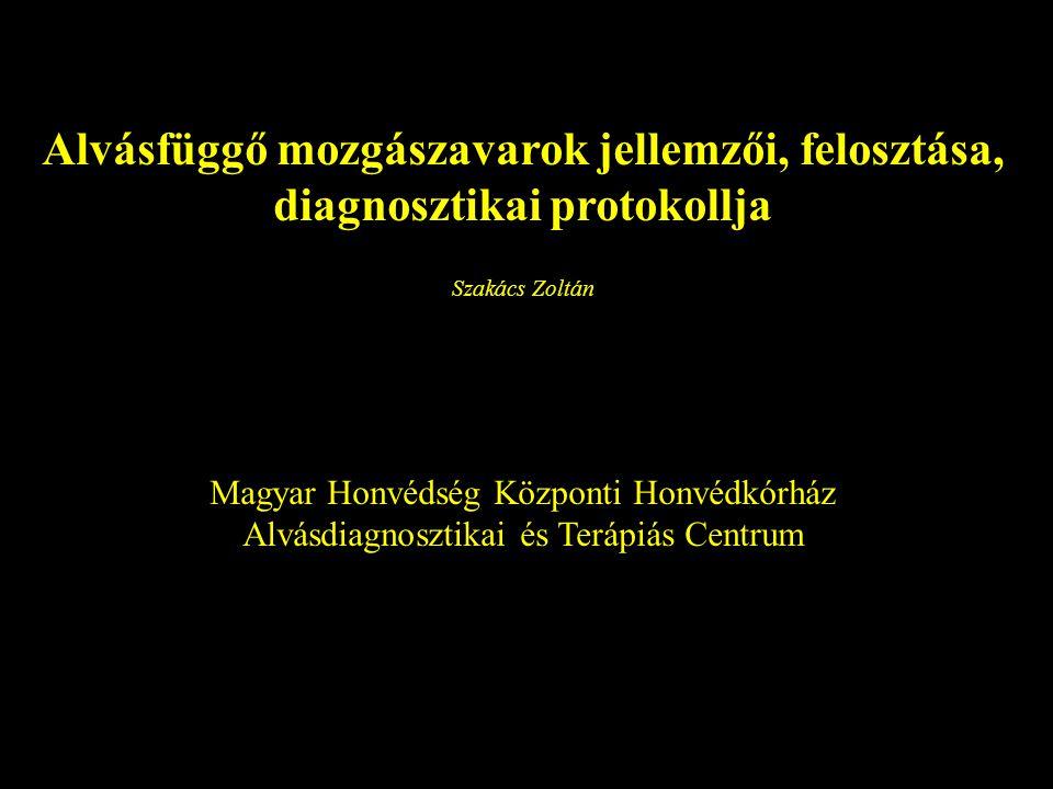 Alvásfüggő mozgászavarok jellemzői, felosztása, diagnosztikai protokollja Szakács Zoltán Magyar Honvédség Központi Honvédkórház Alvásdiagnosztikai és