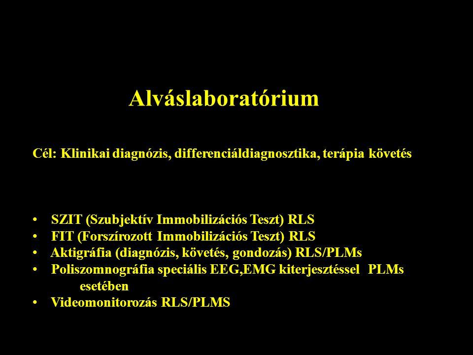 Alváslaboratórium Cél: Klinikai diagnózis, differenciáldiagnosztika, terápia követés SZIT (Szubjektív Immobilizációs Teszt) RLS FIT (Forszírozott Immo