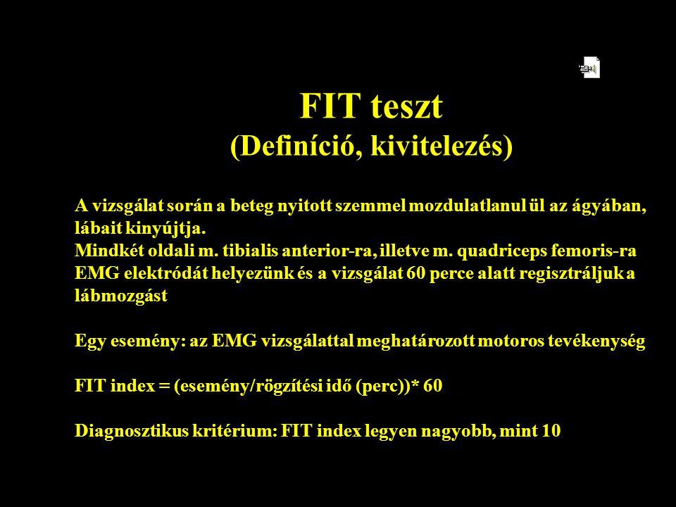 FIT teszt (Definíció, kivitelezés) A vizsgálat során a beteg nyitott szemmel mozdulatlanul ül az ágyában, lábait kinyújtja. Mindkét oldali m. tibialis