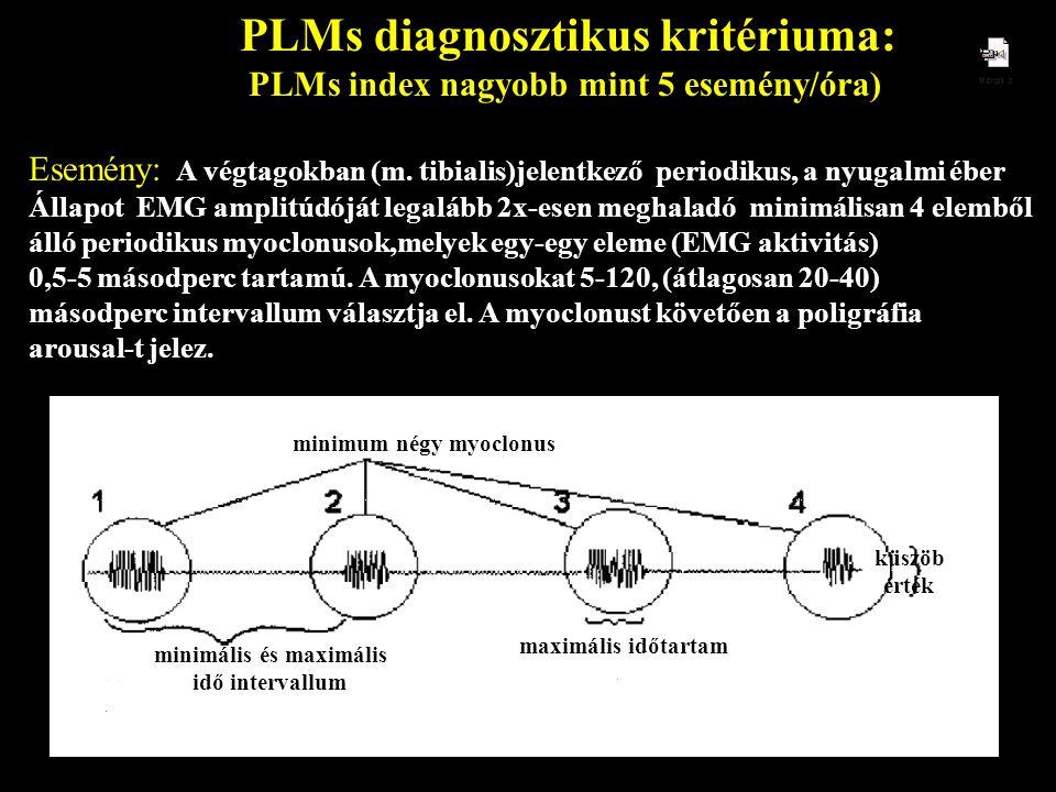 PLMs diagnosztikus kritériuma: PLMs index nagyobb mint 5 esemény/óra) Esemény: A végtagokban (m. tibialis)jelentkező periodikus, a nyugalmi éber Állap