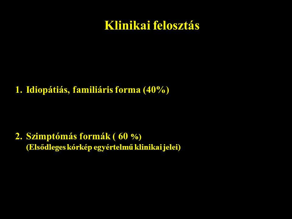 Klinikai felosztás 1.Idiopátiás, familiáris forma (40%) 2. Szimptómás formák ( 60 %) (Elsődleges kórkép egyértelmű klinikai jelei)
