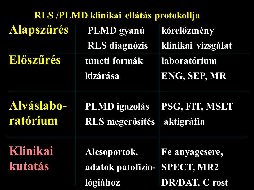 RLS /PLMD klinikai ellátás protokollja Alapszűrés PLMD gyanú kórelőzmény RLS diagnózis klinikai vizsgálat Előszűrés tüneti formáklaboratórium kizárása