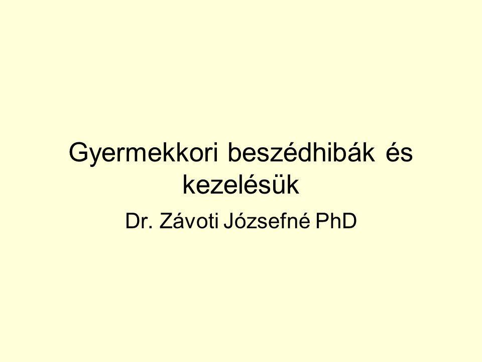 Gyermekkori beszédhibák és kezelésük Dr. Závoti Józsefné PhD
