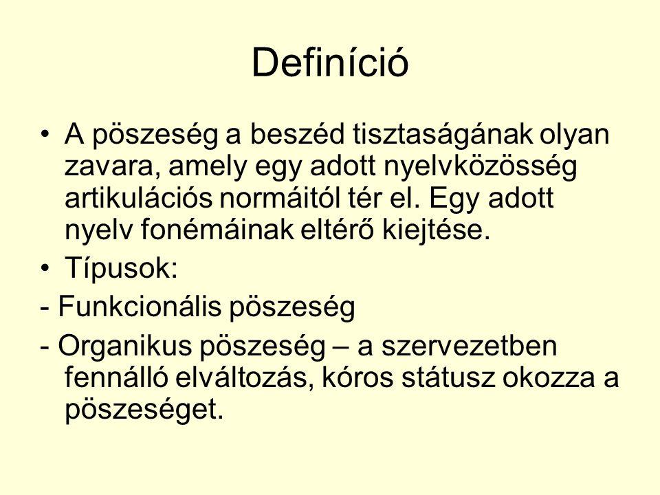 Definíció A pöszeség a beszéd tisztaságának olyan zavara, amely egy adott nyelvközösség artikulációs normáitól tér el. Egy adott nyelv fonémáinak elté