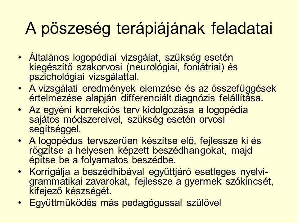 A pöszeség terápiájának feladatai Általános logopédiai vizsgálat, szükség esetén kiegészítő szakorvosi (neurológiai, foniátriai) és pszichológiai vizs