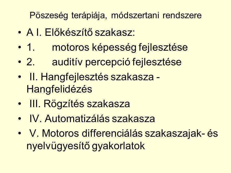 Pöszeség terápiája, módszertani rendszere A I. Előkészítő szakasz: 1. motoros képesség fejlesztése 2. auditív percepció fejlesztése II. Hangfejlesztés