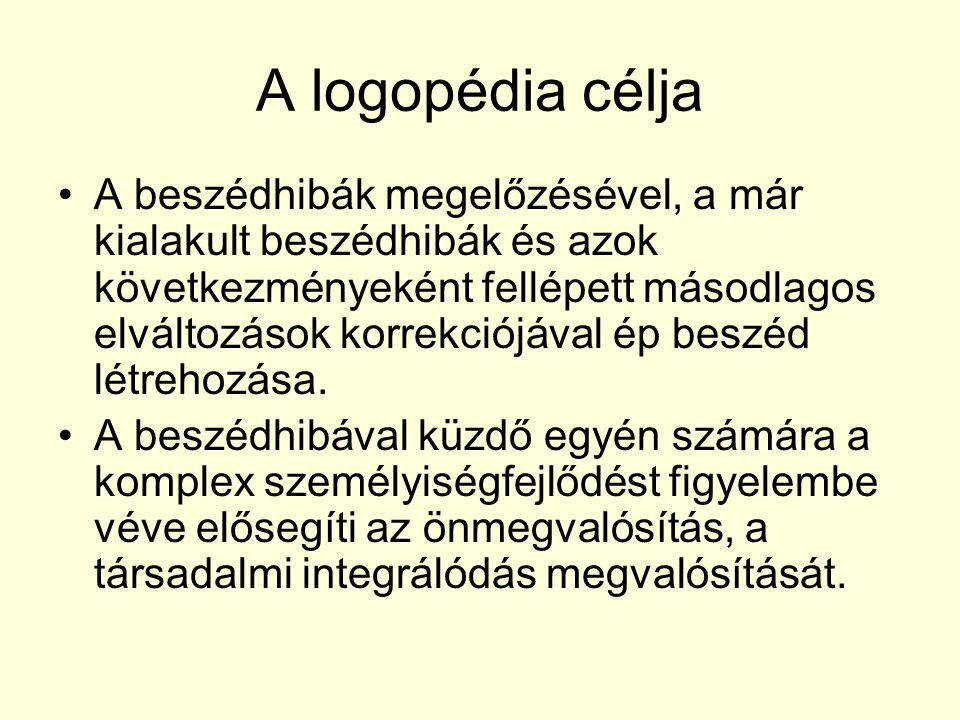 A logopédia célja A beszédhibák megelőzésével, a már kialakult beszédhibák és azok következményeként fellépett másodlagos elváltozások korrekciójával