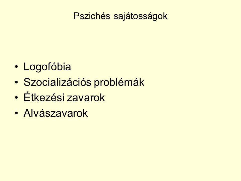 Pszichés sajátosságok Logofóbia Szocializációs problémák Étkezési zavarok Alvászavarok