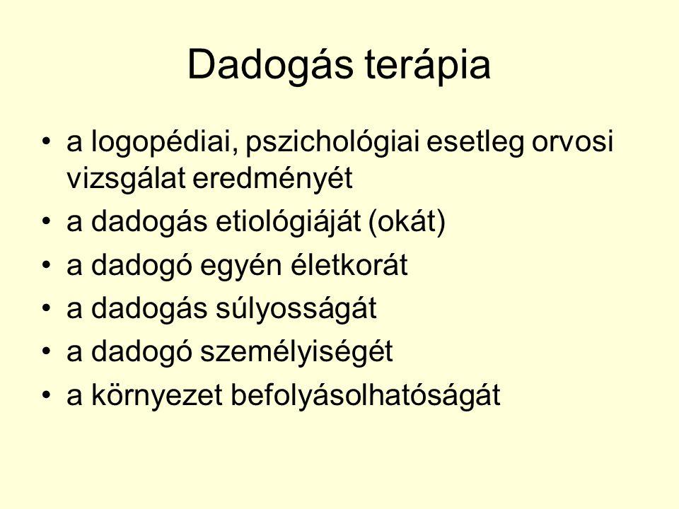 Dadogás terápia a logopédiai, pszichológiai esetleg orvosi vizsgálat eredményét a dadogás etiológiáját (okát) a dadogó egyén életkorát a dadogás súlyo