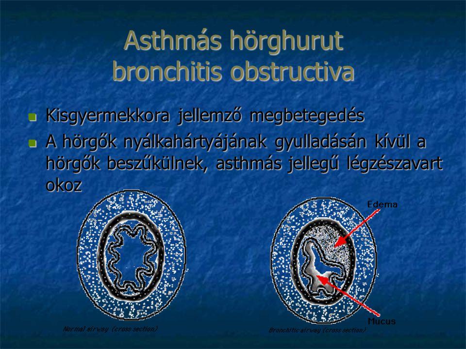 Asthmás hörghurut bronchitis obstructiva Kisgyermekkora jellemző megbetegedés Kisgyermekkora jellemző megbetegedés A hörgők nyálkahártyájának gyulladásán kívül a hörgők beszűkülnek, asthmás jellegű légzészavart okoz A hörgők nyálkahártyájának gyulladásán kívül a hörgők beszűkülnek, asthmás jellegű légzészavart okoz