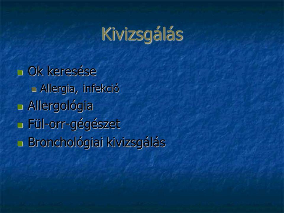 Kivizsgálás Ok keresése Ok keresése Allergia, infekció Allergia, infekció Allergológia Allergológia Fül-orr-gégészet Fül-orr-gégészet Bronchológiai kivizsgálás Bronchológiai kivizsgálás