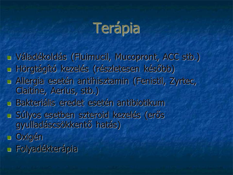Terápia Váladékoldás (Fluimucil, Mucopront, ACC stb.) Váladékoldás (Fluimucil, Mucopront, ACC stb.) Hörgtágító kezelés (részletesen később) Hörgtágító kezelés (részletesen később) Allergia esetén antihisztamin (Fenistil, Zyrtec, Claitine, Aerius, stb.) Allergia esetén antihisztamin (Fenistil, Zyrtec, Claitine, Aerius, stb.) Bakteriális eredet esetén antibiotikum Bakteriális eredet esetén antibiotikum Súlyos esetben szteroid kezelés (erős gyulladáscsökkentő hatás) Súlyos esetben szteroid kezelés (erős gyulladáscsökkentő hatás) Oxigén Oxigén Folyadékterápia Folyadékterápia