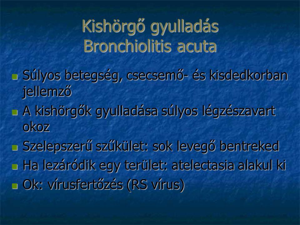 Kishörgő gyulladás Bronchiolitis acuta Súlyos betegség, csecsemő- és kisdedkorban jellemző Súlyos betegség, csecsemő- és kisdedkorban jellemző A kishörgők gyulladása súlyos légzészavart okoz A kishörgők gyulladása súlyos légzészavart okoz Szelepszerű szűkület: sok levegő bentreked Szelepszerű szűkület: sok levegő bentreked Ha lezáródik egy terület: atelectasia alakul ki Ha lezáródik egy terület: atelectasia alakul ki Ok: vírusfertőzés (RS vírus) Ok: vírusfertőzés (RS vírus)