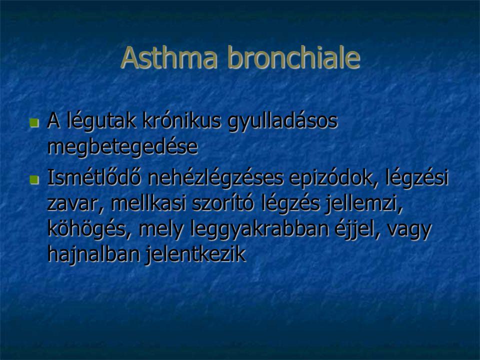 A légutak krónikus gyulladásos megbetegedése A légutak krónikus gyulladásos megbetegedése Ismétlődő nehézlégzéses epizódok, légzési zavar, mellkasi szorító légzés jellemzi, köhögés, mely leggyakrabban éjjel, vagy hajnalban jelentkezik Ismétlődő nehézlégzéses epizódok, légzési zavar, mellkasi szorító légzés jellemzi, köhögés, mely leggyakrabban éjjel, vagy hajnalban jelentkezik