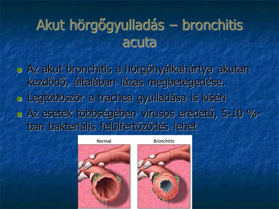 Akut hörgőgyulladás – bronchitis acuta Az akut bronchitis a hörgőnyálkahártya akutan kezdődő, általában lázas megbetegedése.