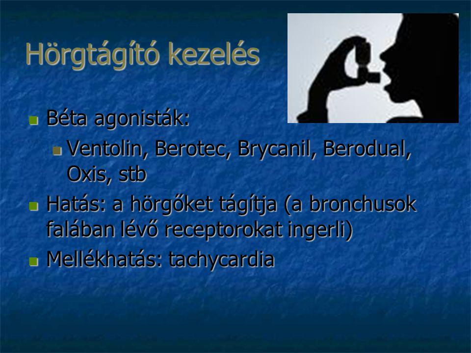 Hörgtágító kezelés Béta agonisták: Béta agonisták: Ventolin, Berotec, Brycanil, Berodual, Oxis, stb Ventolin, Berotec, Brycanil, Berodual, Oxis, stb Hatás: a hörgőket tágítja (a bronchusok falában lévő receptorokat ingerli) Hatás: a hörgőket tágítja (a bronchusok falában lévő receptorokat ingerli) Mellékhatás: tachycardia Mellékhatás: tachycardia