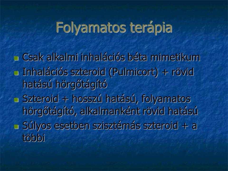 Folyamatos terápia Csak alkalmi inhalációs béta mimetikum Csak alkalmi inhalációs béta mimetikum Inhalációs szteroid (Pulmicort) + rövid hatású hörgőt