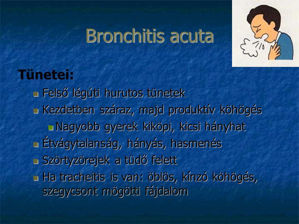 Bronchitis acuta Tünetei: Felső légúti hurutos tünetek Felső légúti hurutos tünetek Kezdetben száraz, majd produktív köhögés Kezdetben száraz, majd produktív köhögés Nagyobb gyerek kiköpi, kicsi hányhat Nagyobb gyerek kiköpi, kicsi hányhat Étvágytalanság, hányás, hasmenés Étvágytalanság, hányás, hasmenés Szörtyzörejek a tüdő felett Szörtyzörejek a tüdő felett Ha tracheitis is van: öblös, kínzó köhögés, szegycsont mögötti fájdalom Ha tracheitis is van: öblös, kínzó köhögés, szegycsont mögötti fájdalom