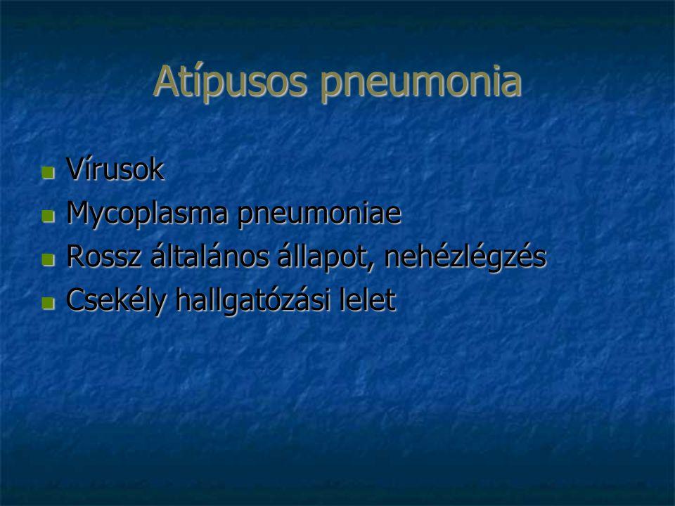 Atípusos pneumonia Vírusok Vírusok Mycoplasma pneumoniae Mycoplasma pneumoniae Rossz általános állapot, nehézlégzés Rossz általános állapot, nehézlégzés Csekély hallgatózási lelet Csekély hallgatózási lelet