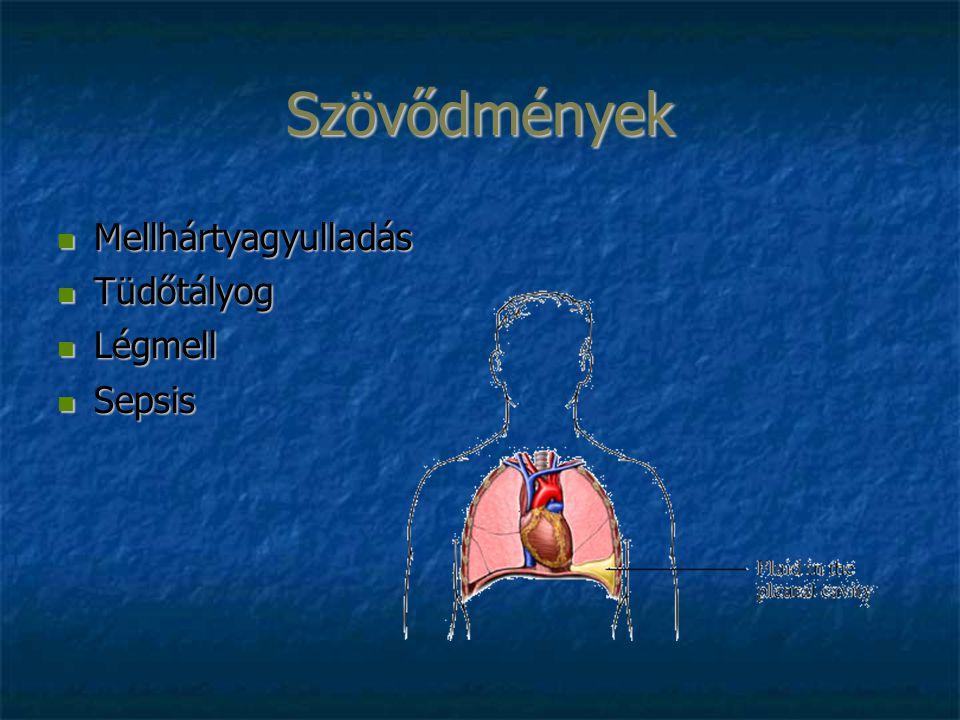 Szövődmények Mellhártyagyulladás Mellhártyagyulladás Tüdőtályog Tüdőtályog Légmell Légmell Sepsis Sepsis