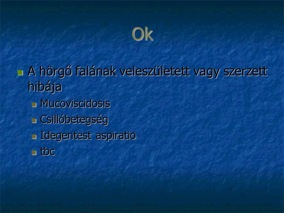 Ok A hörgő falának veleszületett vagy szerzett hibája A hörgő falának veleszületett vagy szerzett hibája Mucoviscidosis Mucoviscidosis Csillóbetegség