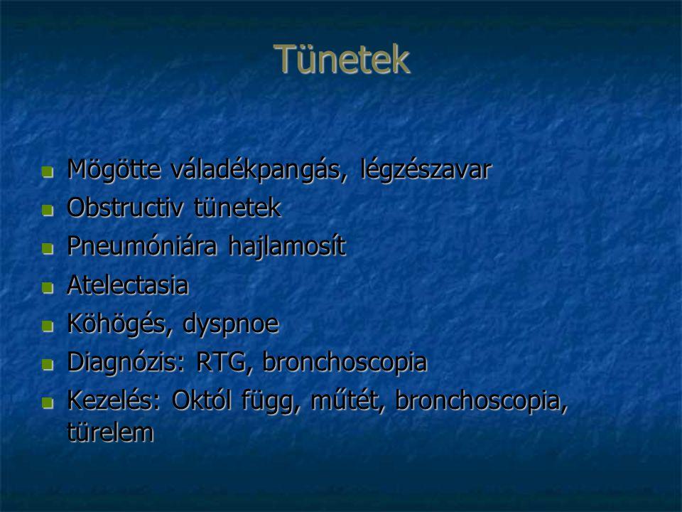 Tünetek Mögötte váladékpangás, légzészavar Mögötte váladékpangás, légzészavar Obstructiv tünetek Obstructiv tünetek Pneumóniára hajlamosít Pneumóniára hajlamosít Atelectasia Atelectasia Köhögés, dyspnoe Köhögés, dyspnoe Diagnózis: RTG, bronchoscopia Diagnózis: RTG, bronchoscopia Kezelés: Októl függ, műtét, bronchoscopia, türelem Kezelés: Októl függ, műtét, bronchoscopia, türelem