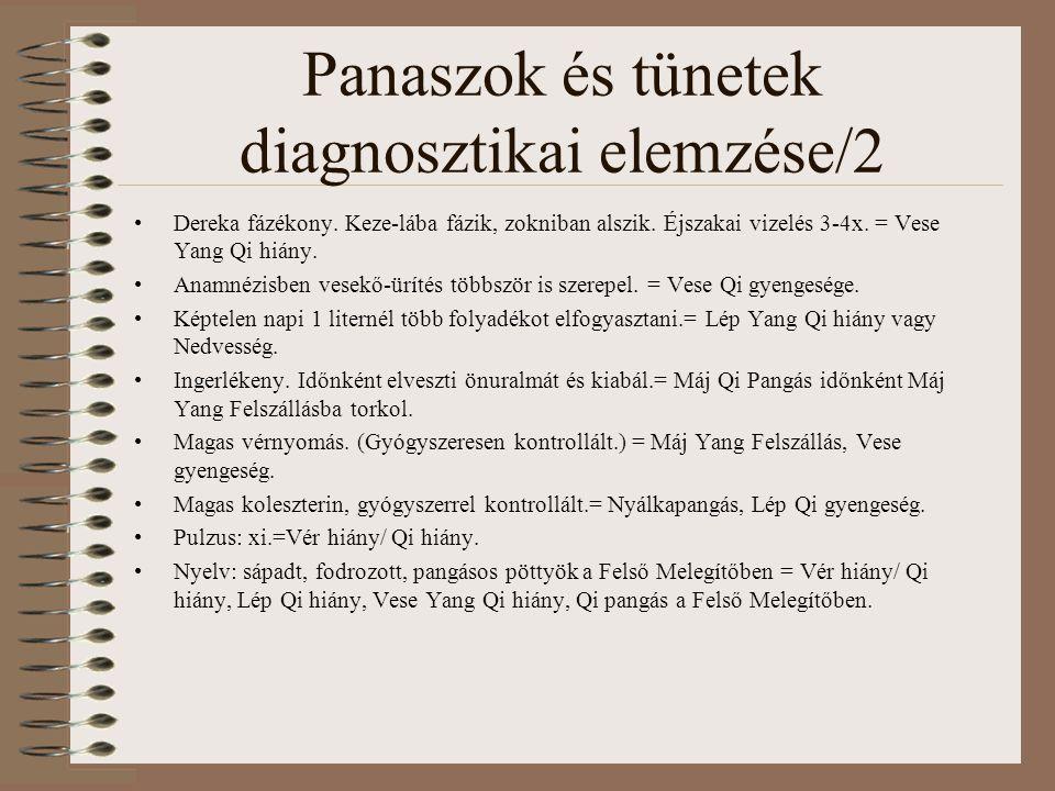 Panaszok és tünetek diagnosztikai elemzése/2 Dereka fázékony.
