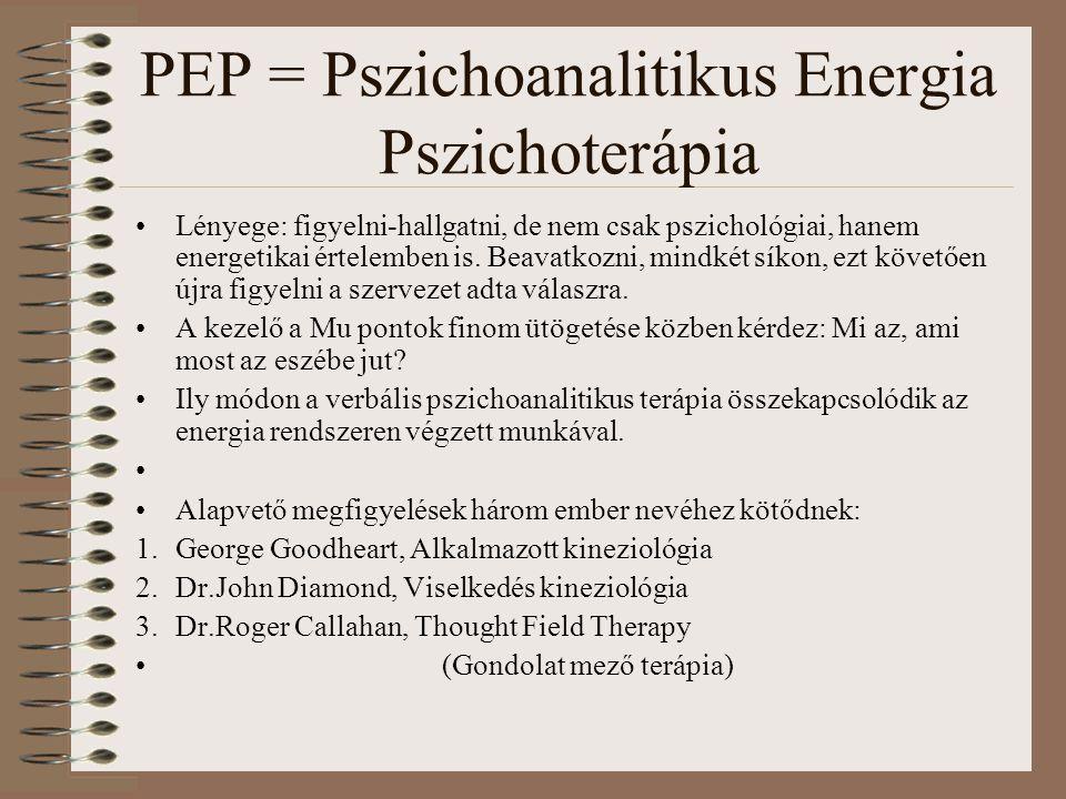 PEP = Pszichoanalitikus Energia Pszichoterápia Lényege: figyelni-hallgatni, de nem csak pszichológiai, hanem energetikai értelemben is. Beavatkozni, m