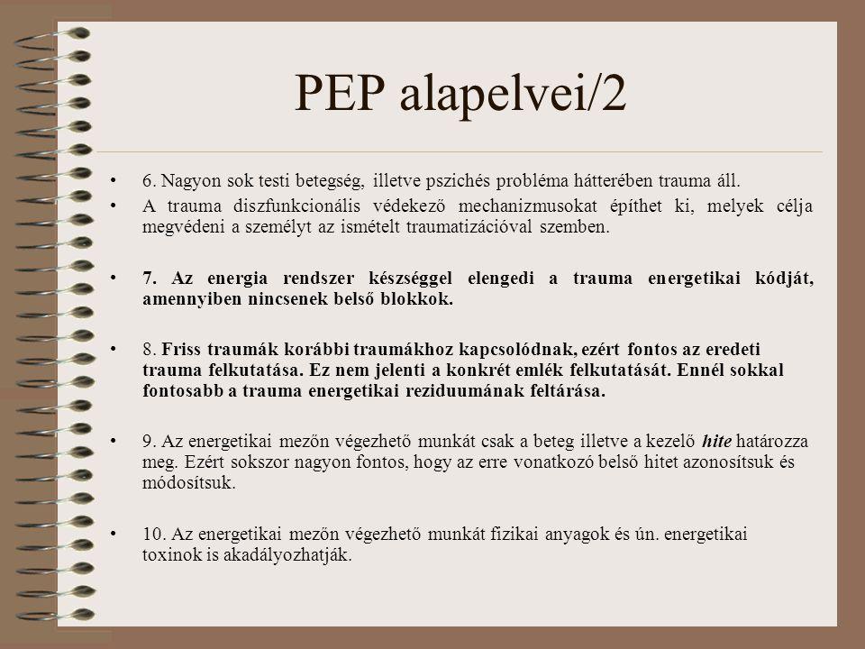 PEP alapelvei/2 6. Nagyon sok testi betegség, illetve pszichés probléma hátterében trauma áll. A trauma diszfunkcionális védekező mechanizmusokat épít