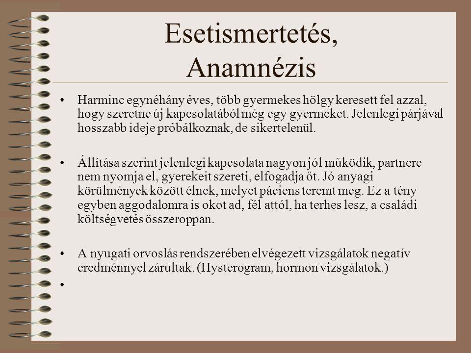 Esetismertetés, Anamnézis Harminc egynéhány éves, több gyermekes hölgy keresett fel azzal, hogy szeretne új kapcsolatából még egy gyermeket. Jelenlegi